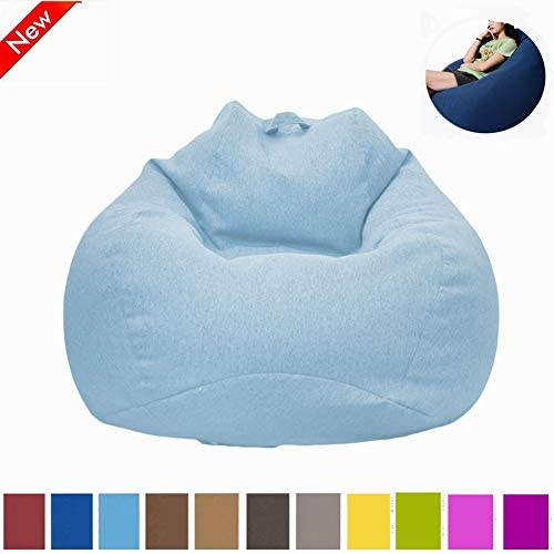 Myfreed Bean Bag Chair, Ultra Soft Bean Bags Chairs Sofa Furniture for Kids Teens Adults with Removable Cover Blue, L-35 x43