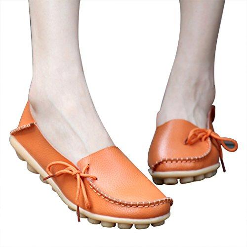 Sol Lorence Kvinnor Casual Mode Läder Slip-on Skor Plus Size Loafers Skor Apelsin