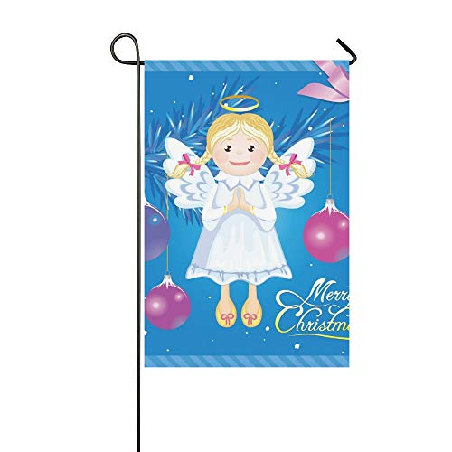 KUneh Home Decorative Outdoor Double Sided Greeting Christmas Card Angel Toy Garden Flag,House Yard Flag,Garden Yard Decorations,Seasonal Welcome Outdoor Flag 12 X 18 Inch Spring Summer ()
