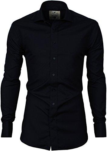 French Cuff Non Iron Dress Shirt (Angel Cola Men's 100% Cotton Solid Non Iron French Cuff Dress Shirt Navy Blue XSmall)