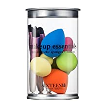 Sixteen18 Travel Size Makeup Brush Set Essentials - 5 Mini Contour Puff Sponge Beauty Blenders & 5 Mini Eye Cosmetic Applicator Makeup Brushes w/ Carrying Case (10 Pieces)