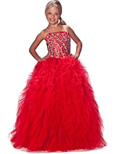 GreenBloom Girls'Princess Ball Gowns Crystal Ruffles Pageant Dresses 2 US Red