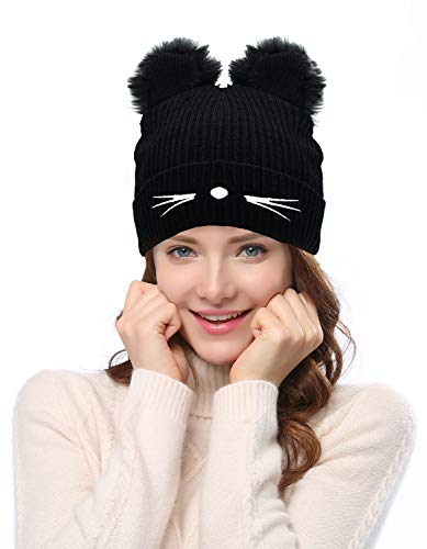 Bellady Winter Hats Cute Cat Ear Hat with Embroidered Warm Knit Crochet Ski Cap,Style2_Black