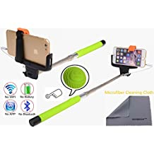 Wonbsdom Extendable Cable Control Built-in Remote Self-portrait Stick Monopod-Green[No Bluetooth Matching & Battery Free]with Adjustable Phone Holder for Smartphones iPhone6 5 5s 5c 4s 4 Samsung Galaxy S5 S4 S3 Note4 3 2 Sony HTC,Nokia,etc.
