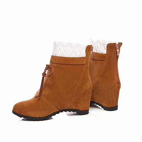Charm Foot Womens Fashion Lace Hidden Heel Ankle Bootie Dark Yellow wQmo3cUeD