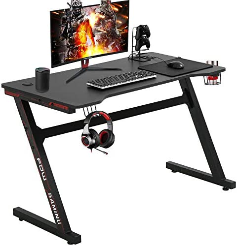 Gaming Desk Computer Desk Office Desk Extra Large Modern Ergonomic PC Carbon Fiber Writing Desk Table with Cup Holder Headphone Hook