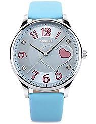 Vavna Girls Analog Watch, Fashion Lady Quartz Wrist Watch Leather Band Big Face Fun Cute Watches with Lovely Heart Shape Waterproof - Blue
