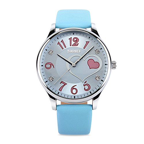Girls Analog Watch, Fashion Lady Quartz Wrist Watch Leather Band Big Face Fun Cute Watches with Lovely Heart Shape Waterproof - - Girls Face Round