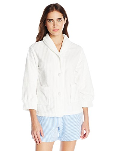 Casual Moments Women's Bed Jacket Shawl Collar Robe, White, Small