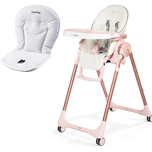 Peg Perego Prima Pappa Zero 3 High Chair, Mon Amour with Booster Cushion Bundle (Peg Perego Prima Pappa Best High Chair)