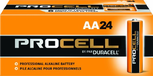 Duracell Procell PC1500 Alkaline-Manganese Dioxide Battery, AA Size, 1.5V, 24 Count