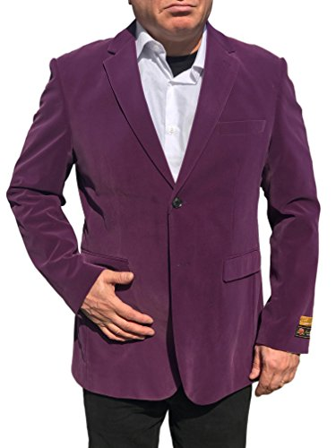 Trim Velour Hoodie Jacket (Alberto Nardoni Purple Velvet Velour Blazer Sport Coat Jacket Available Big Sizes)