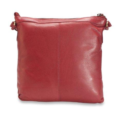 Brunhide # 120-300 - Bandolera para mujer, con bolsillo seguro frontal - Piel auténtica Rojo
