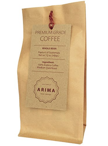 Organic Arima Medium Roasted Coffee Beans From Guatemala :: Direct Trade, Rain Forest Alliance certified :: 12 oz (Medium Roast) (Beverage Dispenser Costco)