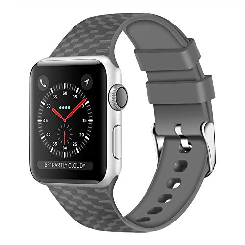 WISHTA Compatible with Apple Watch Band 38mm 42mm Series 3/2/1 40mm 44mm Series 4,Soft Rubber Sport Fan Wristbands for iwatch Women Men (Dark Gray, 42mm/44mm)