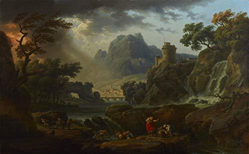 Claude Joseph Vernet - A Mountain Landscape with an Approaching Storm, Size 22x36 inch, Canvas Art Print Wall décor