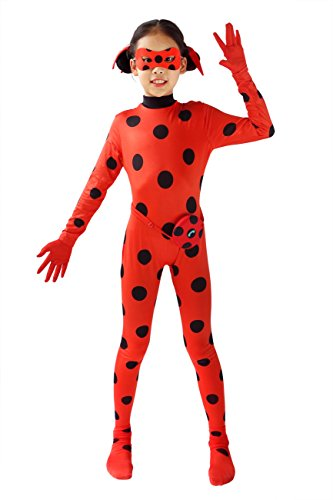 DAZCOS Child Size Cosplay Costume Black Spot Red Jumpsuit with Headwear (5-7Years)