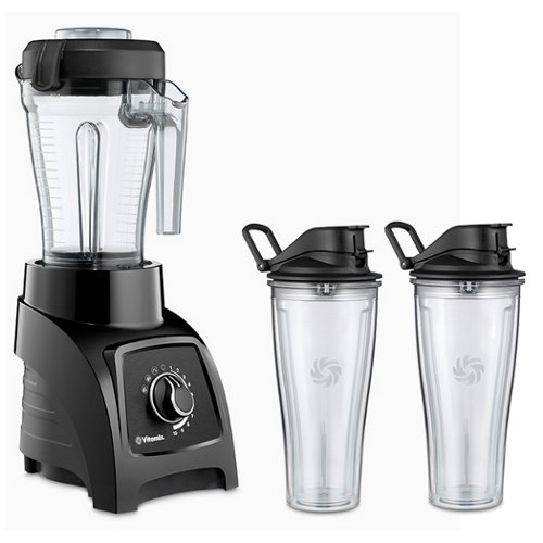 Vitamix S50 Black 40 Ounce Blender with Two 20 Ounce Travel Cups For Sale