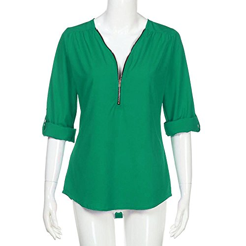 Tunique Couture V Shirts Soie Vert Casual Moussline Manche Chemisiers 3 de 4 Chemise Femme Blouse Tops Zipp Solike T en Col Z5wqna0g0