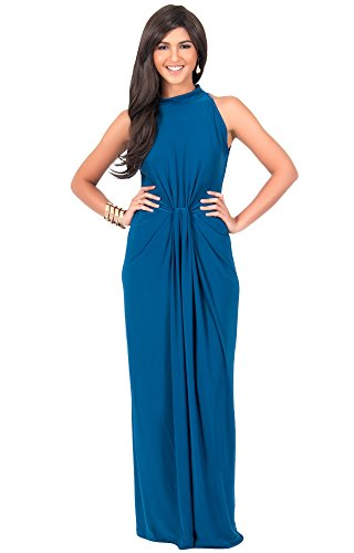 KOH KOH Womens Long Sleeveless Sexy Vintage Cocktail Slimming Party Evening Summer Sun Prom Bridesmaid Wedding Guest Gown Gowns Maxi Dress Dresses for Women, Blue Teal L 12-14 (2)
