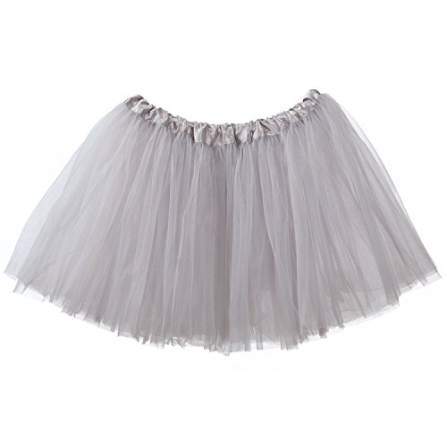 My Lello Adult Tutu Skirt, Classic Elastic 3 Layer Tulle Tutu for Women and Teens - Silver -