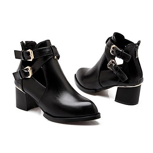 Top Pointed Women's AmoonyFashion Soft Heels Kitten Black Low Boots Material Solid Toe Closed pHWnWzq