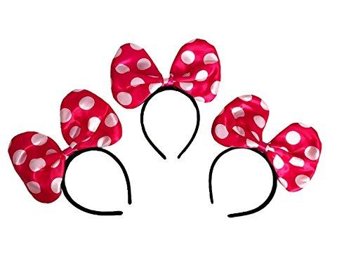 LED Minnie Mouse Headband in Pink Color with Polka Dots - Set of 3 (Minnie Mouse Led Costume)