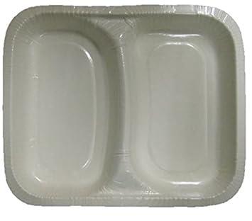 Al por mayor – 50 Desechables se puede usar en microondas contenedores doble compartimento bandejas de