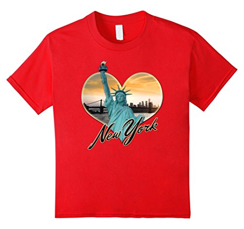 Statue Liberty Clipart (Kids NYC New York City Skyline Souvenir Statue of Liberty T-shirt 10 Red)