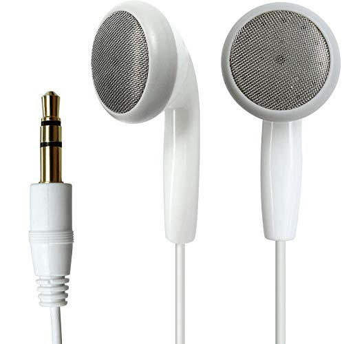 Stereo in-Ear Headphones Subwoofer Music Gaming Headphones Compatible with Mobile Phone Flat Headphones with Microphones Sports Running Remote Control, Music Edition White