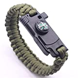 AIYIOUWEI Knife Survival Bracelet, Fire Starter, Whistle, Compass,Flint Stone, Fire Starter, Knife, Whistle - Military
