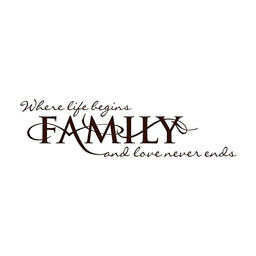 VINYL DECAL HOME WALL SIGN - FAMILY Where life begins and love never ends -Large size 12x45