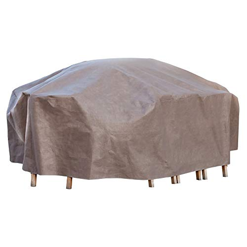 Duck Covers Elite Rectangle / Oval Patio Table & Chair Set Cover with Inflatable Airbag to Prevent Pooling, 127-Inch
