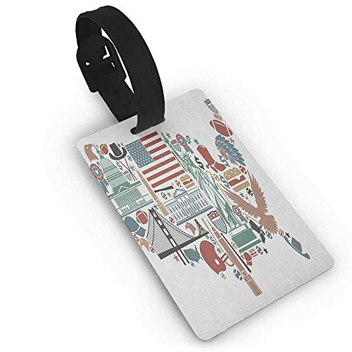 Anne Bags Taintor - Label Bag Map,Traditional Symbols in The Form of United States of America Map Travel Landmarks Flag, Multicolor One Size Tag Portable Women