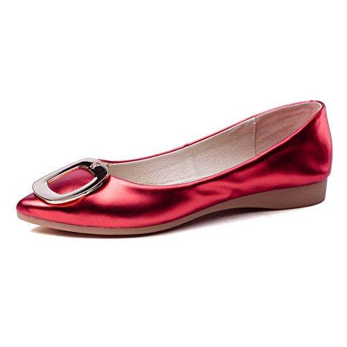 AgooLar Damen Blend-Materialien Rein Ziehen auf Spitz Zehe Ohne Absatz Flache Schuhe, Rot, 40