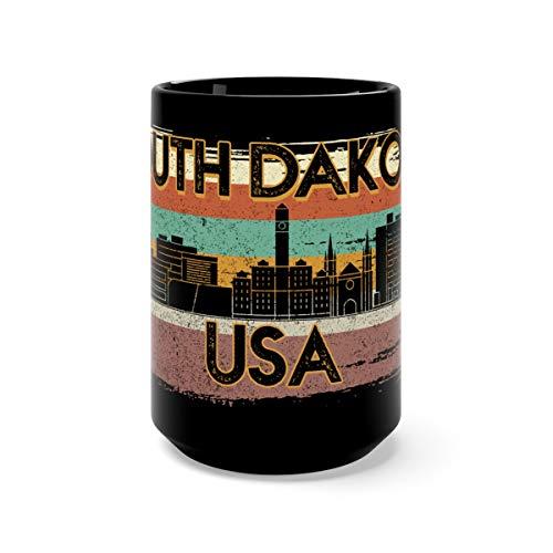 Retro Vintage 1980s Style South Dakota USA Coffee Awesome Mugs Cups Ceramic 15oz Black -
