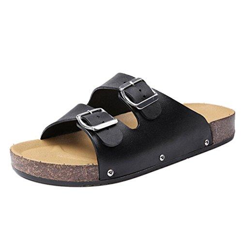 Rcool Sommer Leder Casual Beach Chic Männer Flache Sandalen Hausschuhe Schuhe Schwarz