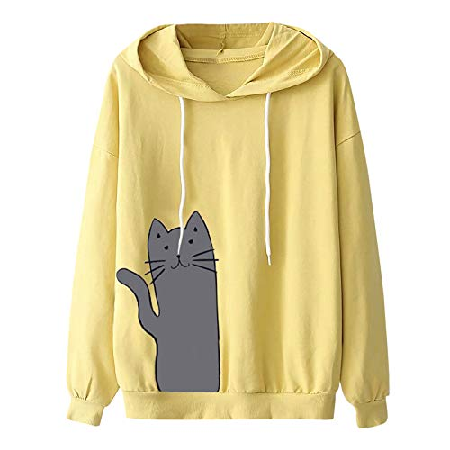 ✔ Hypothesis_X ☎ Women's Pullover Long Sleeve Hoodies Coat Loose Casual Top Blouse Printed Drawstring Sweatshirt Yellow