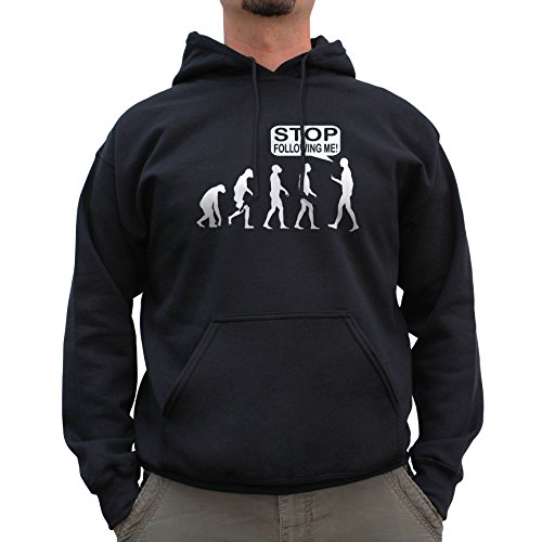 Nutees Unisex Stop Following Me Ape to Human Evolution Funny Hoodie Black (Apes Retro Cloth)