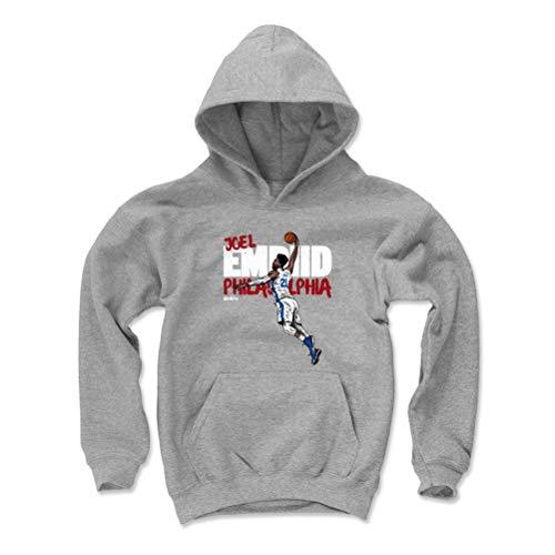 500 LEVEL Joel Embiid Philadelphia Basketball Youth Sweatshirt (Kids Large, Gray) - Joel Embiid Graffiti R WHT