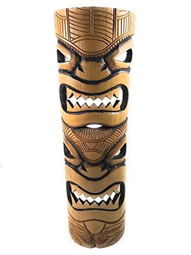 "Love & Prosperity Bamboo Tiki Mask 20"" - Burnt Finish   #dpt5098"