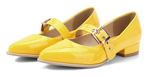 Shoes Block Cut Aisun Dressy Heel Low Toe Buckled Low Pointed Strap Yellow Court Women's BgxqF6xwS7