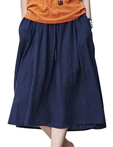 IDEALSANXUN Women's Spring/Summer Cotton Linen Drawstring Midi A-line Skirt with Pocket (Navy, US ()
