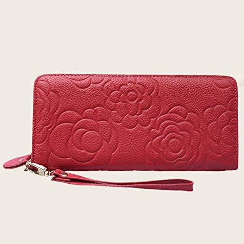 Carta Portafoglio Della Zip Donna Red Titolare Red In Tan Borsa Pelle Rosa colore colore vwUqa