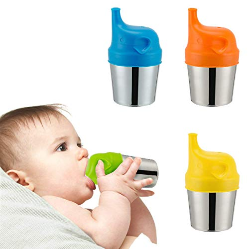 Biubee 4 Pack Stainless Steel Sippy Cups with 4 pcs Silicone Sippy Lids for Baby and Toddlers - 6 oz Double Wall Insulated Cups & BPA Free Silicone Lids for Home & Outdoor Activities by Biubee