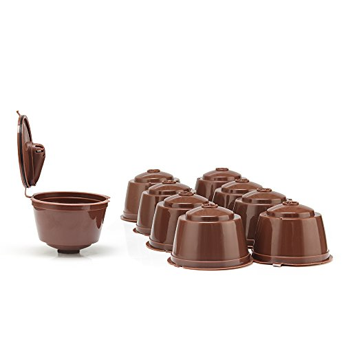 9 Cups/Pack Refillable Dolce Gustó Coffee Capsule, Reusable Capsules Pod Holder for Nescafe Dolce Gustó Compatible With Mini Me, Genio, Piccolo, Esperta And Circolo -Brown