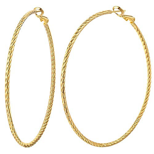 Hoop earrings for women 14K gold plated 70mm big hoops with sterling silver post best gift idea to girls (gold 70mm)