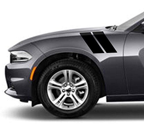 4 Inch Fender Hood Bars Carbon Fiber Vinyl Racing Stripes, Fits Dodge Charger, Both Sides, Black Matte