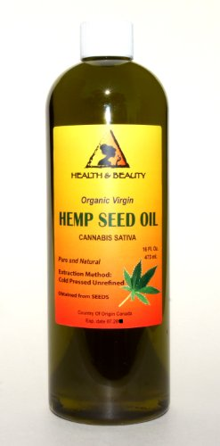 Hemp Seed Oil Organic Virgin Carrier Cold Pressed Unrefined Pure 16 oz
