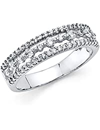 Ladies Solid 14k White Gold Polished CZ Cubic Zirconia Wedding Band